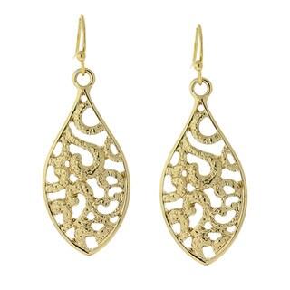 1928 Goldtone Filigree Drop Earrings