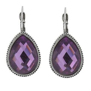 1928 Silvertone Purple Teardrop Earrings