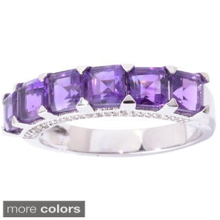 Sterling Silver Square Amethyst or Peridot and White Topaz Ring