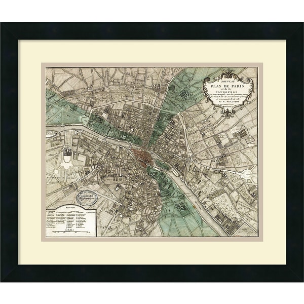 Framed Art Print 'Plan de Paris' by Vintage Reproduction 21 x 18-inch