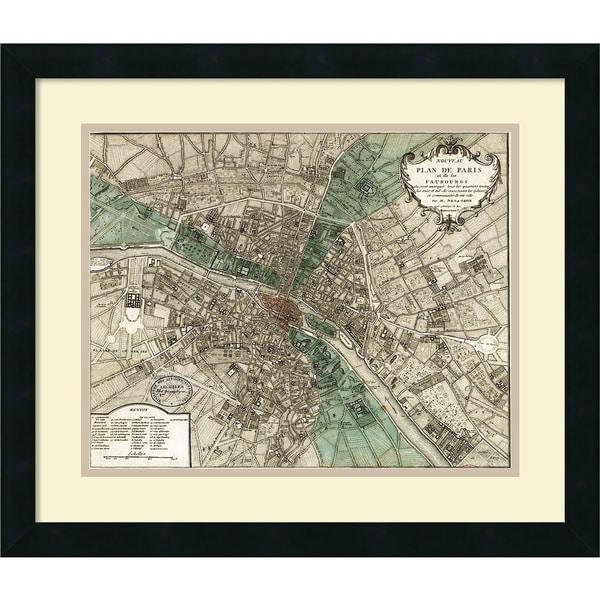Framed Art Print 'Plan de Paris' by Vintage Reproduction 21 x 18-inch