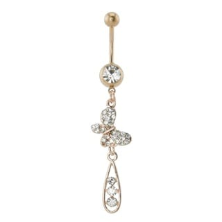 Supreme Jewelry Anodized Rose Goldplated Butterfly Belly Ring with Dangling Stones