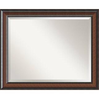 Wall Mirror Large, Cyprus Walnut 33 x 27-inch - Black/Brown - large - 33 x 27-inch