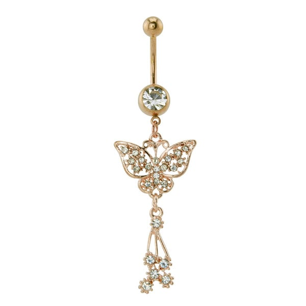 Supreme Jewelry Anodized Rose Goldplated Butterfly Belly Ring with Hanging Stones