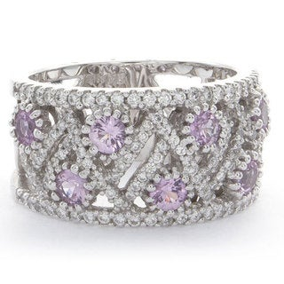 14k White Gold 1/2ct TDW Diamond Pink Sapphire Band (H-I, SI1-SI2)