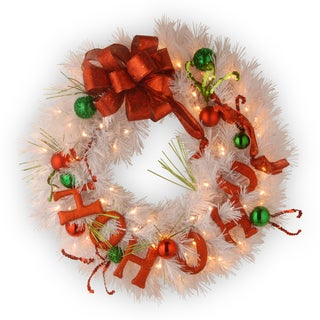 24-inch Decorative Collection HO HO HO Ornament Wreath with 50 Warm White Battery Operated LED Lights