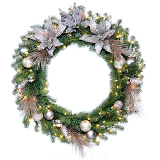 30-inch Decorative Collection Mehighic Wreath with 50 Clear Lights