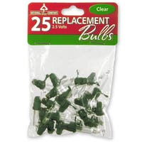25 Clear Replacement Bulbs in Bag with Header for 50 Light Sets-UL-2.5 Volts