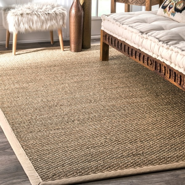 Havenside Home Clearwater Handmade Natural Fiber Cotton Border Seagrass Beige Area Rug (9' x 12') - 9' x 12'