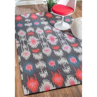 nuLOOM Handmade Southwestern Ikat Wool Grey Rug (5' x 8')