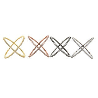 Eternally Haute Sterling Silver Pave Cubic Zirconia Cage 'X' Rings