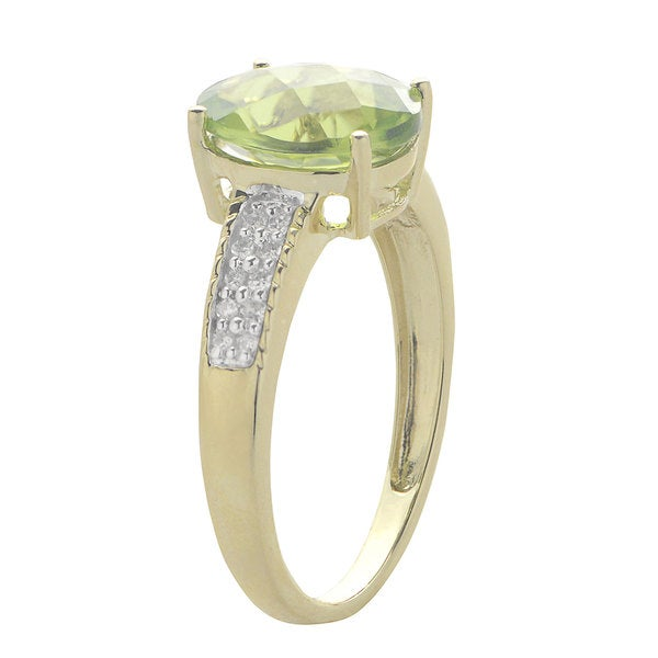 Gems for You 14k Yellow Gold Peridot 1/10ct TDW Diamond Ring (H-I, SI1-SI2)