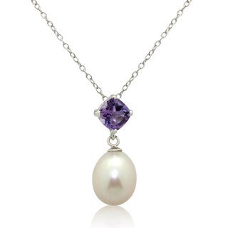 Gioelli Sterling Silver Gemstone Pearl Drop Pendant Necklace (9-9.5 mm)