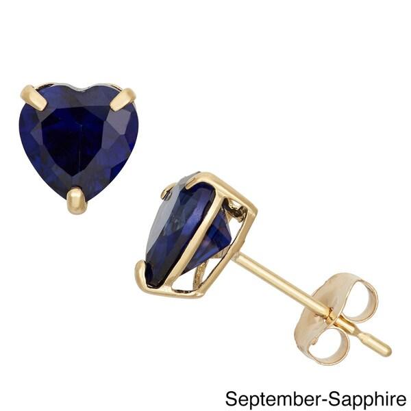 Gioelli 10k Yellow Gold Heart-cut Birthstone Stud Earrings. Opens flyout.