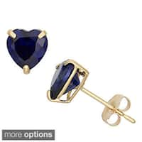 Gioelli 10k Yellow Gold Heart-cut Birthstone Stud Earrings