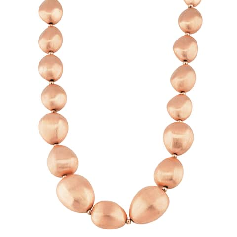 Oro Rosa 18k Rose Goldplated Bronze Italian Graduated Nugget Bead Necklace