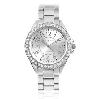 Journee Collection Matte Round Rhinestone Dial Link Bracelet Watch