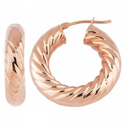 Oro Rosa 18k Rose Goldplated Bronze Twist Design Hoop Earrings