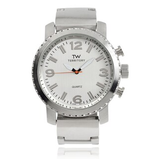 Territory Stainless Steel Round Face Link Band Watch