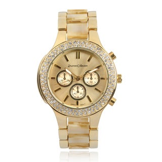 Journee Collection Rhinestone Link Band Round Face Watch