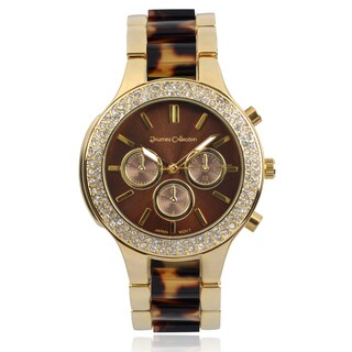 Journee Collection Rhinestone Link Band Round Face Watch|https://ak1.ostkcdn.com/images/products/9620332/P16805609.jpg?_ostk_perf_=percv&impolicy=medium