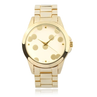 Journee Collection Polka-Dot Round Face Link Watch
