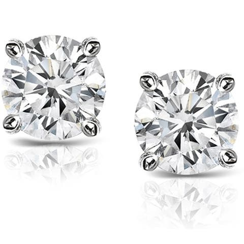 Platinum 1 1/2ctw Round Hearts & Arrows Diamond Stud Earrings by Auriya Certified