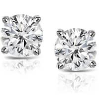 Auriya Platinum 1 1/2ct TDW Round Hearts & Arrows Diamond Stud Earrings