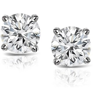 Auriya Platinum 1 1/2ct TDW Hearts and Arrows Diamond Stud Earrings (H-I, SI1-SI2)