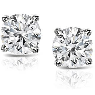 Auriya Platinum 1 1 2ct TDW Hearts and Arrows Diamond Stud Earrings  H I. Clearance at Overstock com