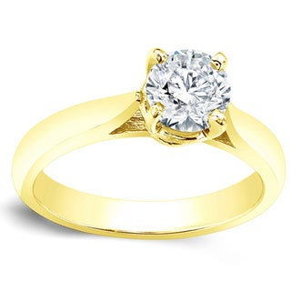 Auriya 14k Gold 1ct TDW Round Diamond Solitaire Engagement Ring (J-K, I2-I3)