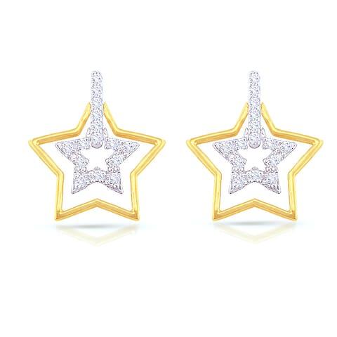 Auriya 14k Two-tone Gold 1/5ctw Round Diamond Star-Shaped Dangle Stud Earrings