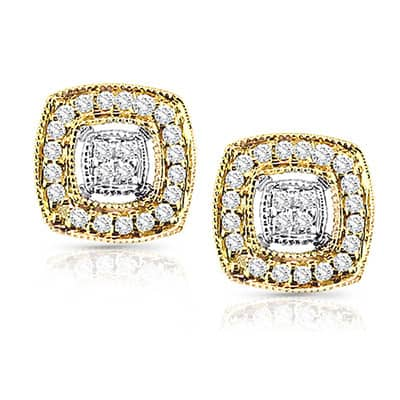 Auriya Vintage Square Shaped Halo Diamond Stud Earrings 1/5 carat TW 14k Two Tone Gold