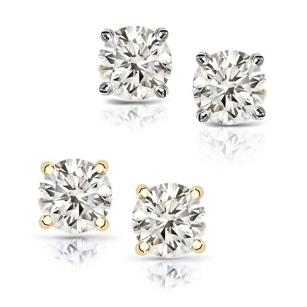 Auriya 14k Gold 1/2ct TDW Hearts and Arrows Diamond Stud Earrings (J-K, SI1-SI2)
