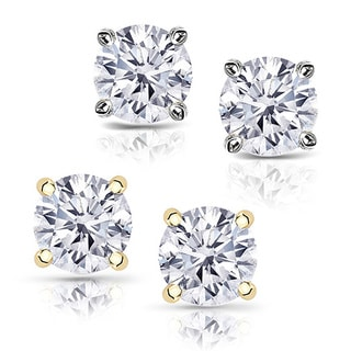 Auriya 14k Gold 1 1/2 TDW Round Diamond Stud Earrings (E-F, SI1-SI2)