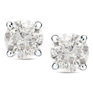 14K Gold Round 1 1/2ct to 2ct TDW Clarity Enhanced Diamond Stud Earrings by Auriya