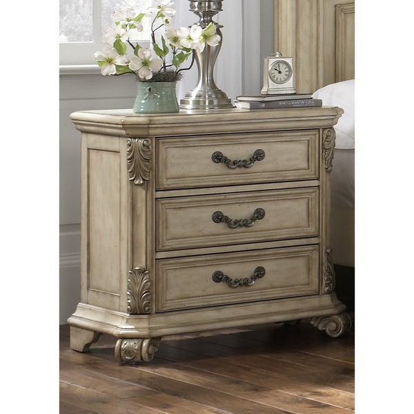shop liberty messina estates iiantique ivory 3 drawer nightstand free shipping today. Black Bedroom Furniture Sets. Home Design Ideas