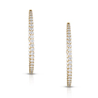 Eloquence 14k Yellow Gold 6ct TDW Inside-Out Prong Diamond Hoop Earrings (H-I, I1-I2)