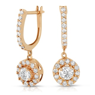 Eloquence 14k Rose Gold 1ct TDW Round Diamond Dangle Earrings (H-I, I1-I2)