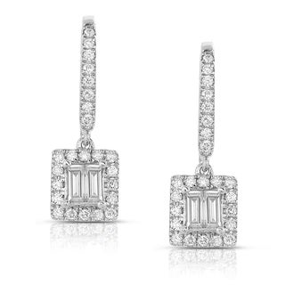 Eloquence 14k White Gold 1/2ct TDW Baguette Cut Diamond Dangle Earrings