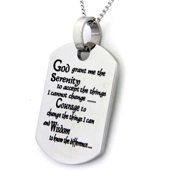 Serenity Prayer Dog Tag Stainless Steel Necklace (Silver)...