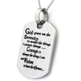 Serenity Prayer Dog Tag Stainless Steel Necklace