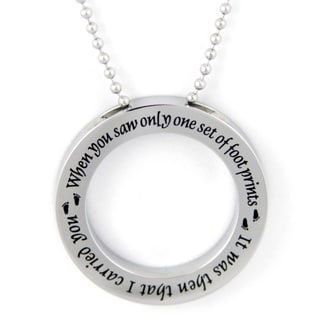 Footprints Prayer Disc Stainless Steel Necklace