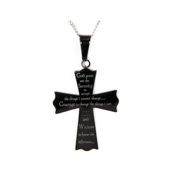 Serenity Prayer Black Cross Stainless Steel Necklace