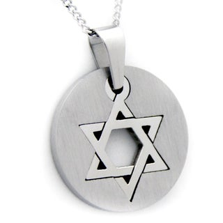 Star of David Round Stainless Steel Jewish Necklace