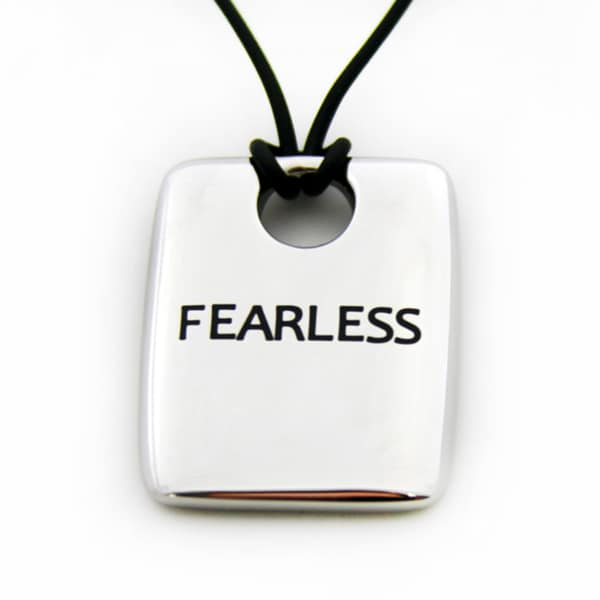 Fearless Stainless Steel Black Cord Dog Tag Necklace