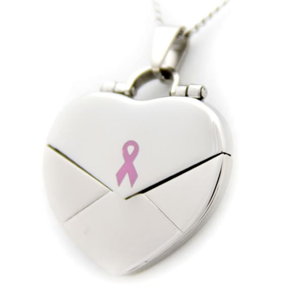 What Cancer Cannot Do Pink Heart Locket Necklace