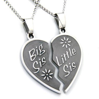 Big Sis, Little Sis Two-piece Heart Necklace