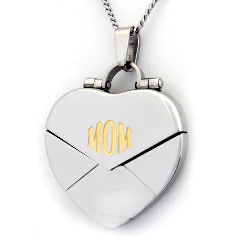 Mom Mother Heart Locket Stainless Steel Necklace
