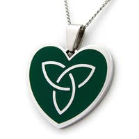 Green Celtic Heart Stainless Steel Necklace